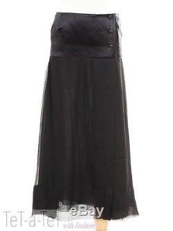 02P CHANEL Black Silk Chiffon Semi Sheer SKIRT FR-36