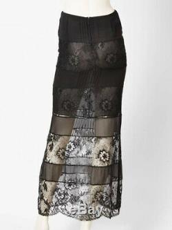 05P CHANEL Black Silk Lace Long Maxi SKIRT FR-36