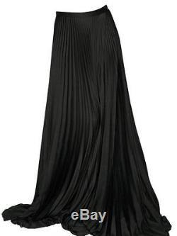 HAIDER ACKERMANN Black Long Satin Pleated Maxi Skirt Runway ...