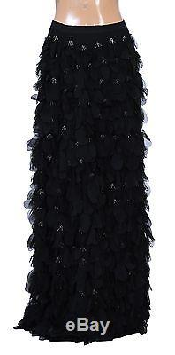 136474 New Alice + Olivia Black Codi Beaded Chiffon-Paillette Long Maxi Skirt XS