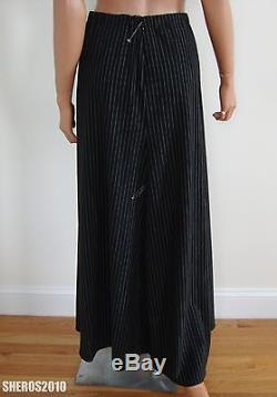 $1450 Authentic LORO PIANA WOOL Blend Black White Striped MAXI Skirt IT-40 US-4