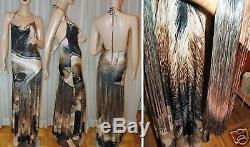 $1500 ROBERTO CAVALLI Long Fringes skirt DRESS Maxi Full open back 8 / 42 italy