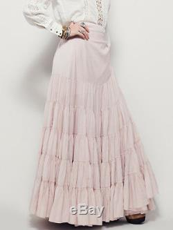 162287 New Free People Ruffles All Around Peach Wrap Long Maxi Skirt Small S