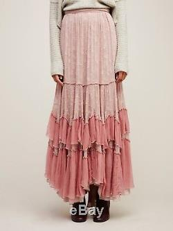 165671 NWD Free People See You Tonight Floral Printed Ruffle Maxi Skirt XS