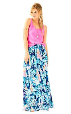 $168 NEW Lilly Pulitzer BOHDI MAXI SKIRT Dress Sparkling Blue Hey Bay Bay BOAT L