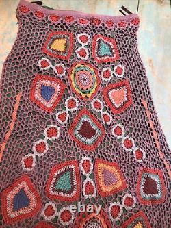 178. Double D Ranch Doily granny square Crochet Maxi Skirt rare work of art s