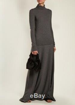 $1790 The Row Oda Stretch Cashmere Knit Maxi Skirt Grey S Floor Lenght
