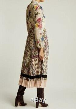 $1850 New Valentino Gorgeous Romantic Floral Print Pleated Long Skirt Dress 44 M