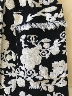 $1950 New Fabulous Chanel 14c Long Camellia Fringe Skirt Black White 34 36