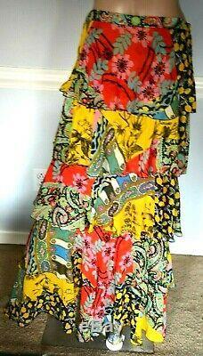 $1955 ETRO Norfolk Tiered Paisley Ruffle Silk Long Dress Maxi Skirt US 4 6 IT 42