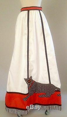 1960s Vintage Long Maxi Skirt With Cat Detail
