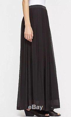 1x New Eileen Fisher Black Sheer Silk Jersey Pleated F/l Maxi Skirt