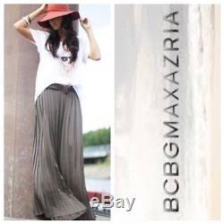 $228 NWT BCBG MAX AZRIA M Charcoal Gray Esten Sunburst Pleat Illusion Maxi Skirt