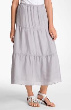 $238 BNWT EILEEN FISHER Silk Habutai DOVE Tiered Maxi Skirt withSilk Lining L XL