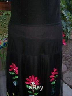$250RARE Western Gypsy Fiesta Embroidered Long Mesh SkirtLVintage Collection