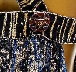 2pc Chanel 10c Skirt+dress Set Gold Blue Cutout Halter Maxi Gown- Fr38 New