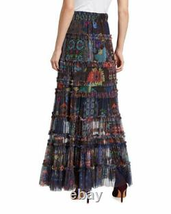 $310 Johnny Was Rare Malynda Tiered Ruffle Mesh Maxi Skirt Sz Medium New