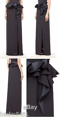 $3155 GIVENCHY Black Silk Satin Cady Ruffle Waist Long Maxi High Slit Skirt FR38