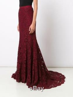$3190 NEW Oscar de la Renta Fishtail Maxi Skirt Bordeaux Corded Rose Lace 0 2 4