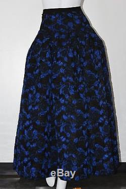 $3595 New Oscar de la Renta Black Blue Floral JACQUARD Full Skirt Maxi 0 2 4