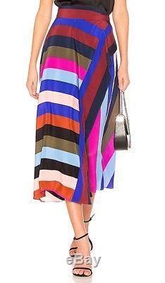$368 DVF Diane Von Furstenberg Carson Stripe Maxi Wrap Skirt Sz 8, NWT