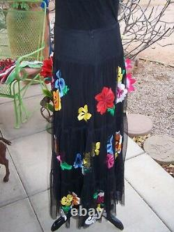 $395RARE Beauty Western Floral Embroidered Long Mesh SkirtLVintage Collection
