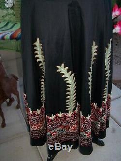$400RARE Beauty Western Silk Suzani Embroidered Long SkirtMVintage Collection