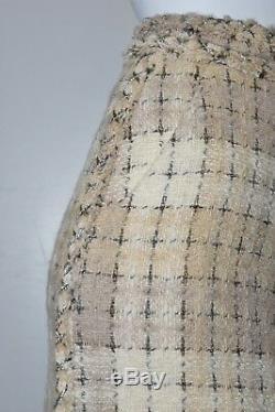 $4120 NEW Chanel Ecru Cream Beige Tweed Maxi Long Skirt 10 HUGE CC Buttons 36 38