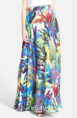 $475 Milly Floral Print Silk Maxi Skirt Sz 6 Current Season Very Long Dress-y