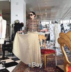 $495 Alice + Olivia Katz Sunburst Gold Pleated Maxi Long Dress Skirt Small / 4
