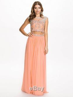 £550 Forever Unique Maisy Pink Peach Top Maxi Long Skirt Dress Prom Gown 2 Piece