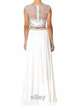 £550 Forever Unique Maisy White Top Maxi Long Skirt Dress Prom Gown 2 Piece 8