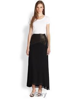$597 NWT Alice + Olivia Cheyleigh Black Leather & Silk Maxi Skirt 4