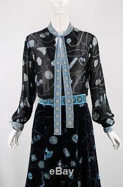 60s EMILIO PUCCI vintage silk blk velvet Tiki charm print outfit blouse skirt 12
