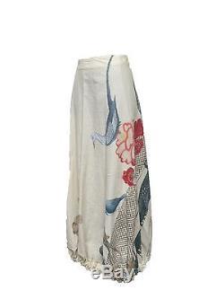 AKIRA Beige\Floral Prints Long Skirt