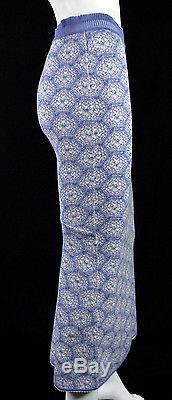 ALAIA Vintage Blue & Cream Floral Knit Fishtail Back Maxi Skirt M