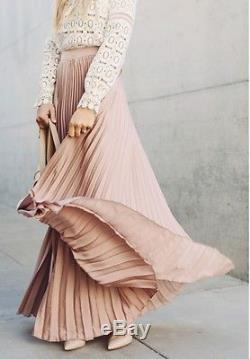 6318163d0 Alexis Brand Alc Blush Pink Silk Long Maxi Pleated Skirt Sz. Xs 0