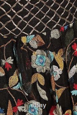 ALICE + OLIVIA Kamryn Embroidered Maxi Skirt Black Multi Color Floral $798 NWT 2
