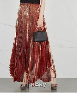ALICE OLIVIA Katz pleated Leopard Print silk-blend lamé Maxi skirt $695 NEW