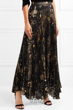 ALICE OLIVIA Shannon pleated metallic printed chiffon maxi skirt NWT$495