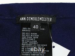 ANN DEMEULEMEESTER NWT Blue Maxi Skirt with Curved Back Slit Sz 40
