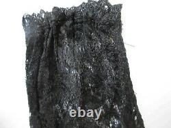 ANTIQUE ART DECO 1920S BLACK LACE & VELVET LONG DRESS With FLUTED SKIRT LARGE