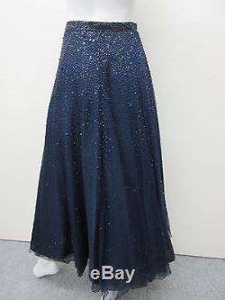ARMANI COLLEZIONI Made in Italy Blue Beaded Embellished Maxi Skirt withSlip 6 NWT
