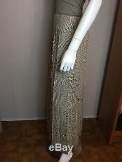 AUTH. CHANEL Long Tweed Maxi Skirt Pleated Brown Tan Ivory Lined Size 42 Wool