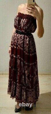 AUTH D&G Dolce&Gabbana burgundy snowflakes silk maxi skirt 40it