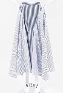 Adam Lippes NWT Blue & White Cotton Striped Asymmetric Maxi Skirt SZ 2
