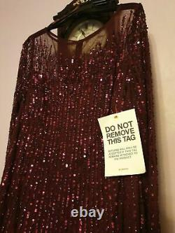 Adrianna Papell Beaded Long Dress With Ruffle Skirt Maxi Occasion Evening Size 14