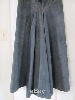 Alaia Lace-up fluted denim maxi skirt size Small