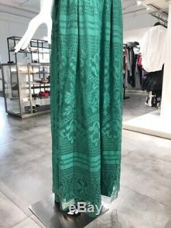 Alberta Ferretti Green Cotton Lace Skirt IT40 NWT $1,250