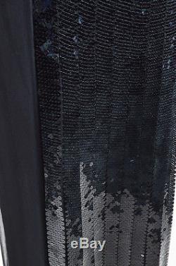 Alberta Ferretti NWT $2360 Black Silk Chiffon Sequin Maxi Skirt SZ 4